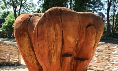 Heart Sculpture, carved in Redwood